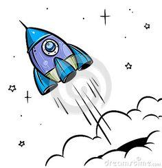 Rocket Space travel art cartoon illustration.