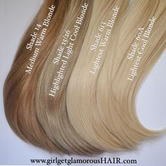 """girlgetglamorousHAIR on Instagram: """"Meet Our Blondes! Shade 15/26 is a great match for most cool highlighted blondes, Shade 14 is a nice medium warm caramel blonde, Shade 613 is an extra light warm blonde, and shade 60A is also an extra light blonde but with cool tones. And those thick ends are #thedoubledrawndifference #gggHAIR #doubledrawnclipinextensions www.girlgetglamorousHAIR.com"""""""