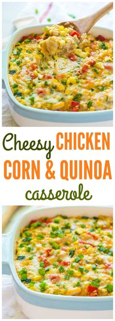 Cheesy Corn Chicken Quinoa Casserole — A lightened up, healthy corn bake made with simple, REAL ingredients. EASY recipe that our whole family loves. High protein, gluten free, and no canned soups! Recipe at wellplated.com @wellplated