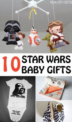 10 awesome Star Wars baby gifts: onesies, hats, books, bottle holder, mobile, blanket and more. Great gifts for Star Wars fans! | at Non Toy Gifts
