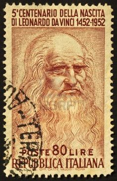 A stamp printed in Italy celebrates the fifth centenary of Leonardo da Vinci's birth, famous italian renaissance genius. Italy, 1952.