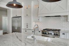 Super White Granite Kitchen Countertops in a modern grey scale and white kitchen. Super White Granite, White Granite Kitchen, Super White Quartzite, Kitchen Grey, Kitchen And Bath, New Kitchen, Kitchen Ideas, Kitchen Images, Kitchen Tips