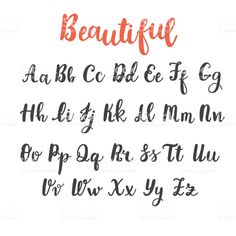 Uppercase and lowercase letters. Hand lettering royalty-free hand draw alphabet uppercase and lowercase letters calligraphy font hand lettering stock vector art & more images of typescript Alphabet Cursif, Handwriting Alphabet, Calligraphy Handwriting, Full Alphabet Fonts, Fake Calligraphy, Calligraphy Doodles, Bullet Journal Alphabet, Bullet Journal Writing, Modern Calligraphy Alphabet