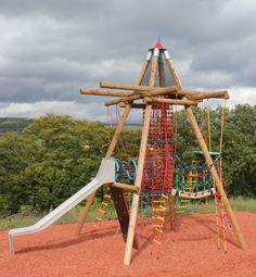 Birds Nest Tower Black Forest with slide - Playground Centre Playground Design, Children Playground, Playground Ideas, Outdoor Gym Equipment, Kid Friendly Backyard, Programming For Kids, Black Forest, Outdoor Play, Tourism