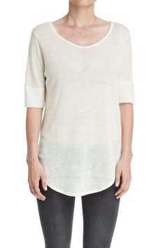 CREAM BOAT NECK T-SHIRT - Sheer boat neck tee in cream with longer short sleeves. Stitching ... | ANINE BING