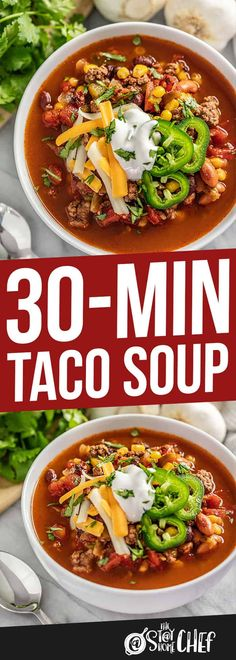 30 Minute Taco Soup is as ridiculously delicious as it is easy to make! Everything is tossed together in a single pot, for a flavorful soup in just 30 minutes. You're going to be seriously amazed!