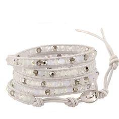 "CHAN LUU 32"" Special White Mix Wrap Bracelet with Swarovski Crystals on White Greek Leather"