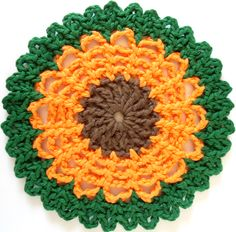 "Free pattern for ""Straw Flower Dishcloth""!"