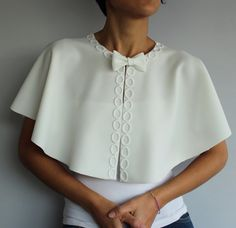 Cream Bridal Cape Off White Shrug with Bow. by MammaMiaBridal, $54.00