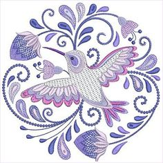 Jacobean Hummingbirds Set 1 by Santi This would be the perfect hummingbird tattoo commemorating my grandma I could ever find. Fitting it's also an embroidery pattern Playing Cards, Embroidery Machines, Cards, Game Cards