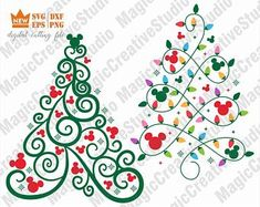 Mickey Mouse Christmas Tree SVG / Christmas tree svg / Split tree svg /Commercial use / SVG Instant Mickey Mouse Christmas Tree, Disney Christmas Shirts, Christmas Svg, Winter Christmas, Xmas, Disney Diy, Disney Crafts, Disney Cruise, Disney Scrapbook Pages
