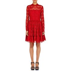 Lanvin Women's Dentelle Lace Fit & Flare Dress (92,945 PHP) ❤ liked on Polyvore featuring dresses, red, lace fit-and-flare dresses, red tiered dress, lacy red dress, longsleeve dress and lace dress
