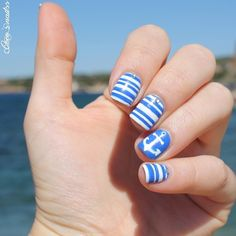 Nautical mani ===== Check out my Etsy store for some nail art supplies https://www.etsy.com/shop/LaPalomaBoutique