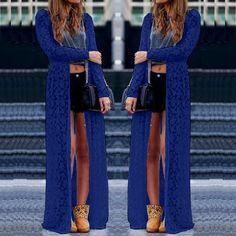 6 Color Blusas 2016 Women Outwear Lace Crochet Long Sleeve Beach Kimono Cardigan Casual Loose Long Blouses Tops Plus Size Shirts