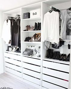 Add style and storage space to your bed room with these open closet designs STYLECASTER Wardrobe Closet, Master Closet, Closet Bedroom, Home Bedroom, Bedroom Decor, Wardrobe Doors, Design Bedroom, Walk In Closet Ikea, White Wardrobe