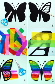 Tinker with tissue paper Butterflies Instructions . Tinker with tissue paper Butterflies Instructions window decoration Kids Crafts, Summer Crafts, Arts And Crafts, Easter Crafts, Diy Niños Manualidades, Origami, Tissue Paper Crafts, Paper Garlands, Paper Butterflies