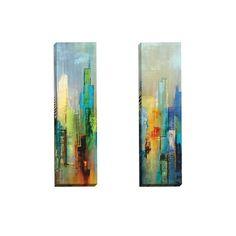 Portfolio Canvas Decor Dominick 'Steel Rising Panel I' Framed Canvas Wall Art (Set of 2)