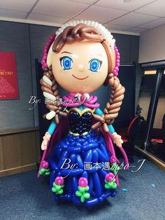 Reine des Neiges / Frozen Party : Décoration avec des sculptures de ballons ∼ Elsa et Ann