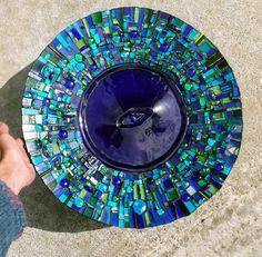 'Spa' bespoke bird bath 2011 by Helen Nock - or a beautiful mirror frame Blue Mosaic Tile, Mosaic Birds, Mosaic Art, Mosaic Glass, Fused Glass, Stained Glass, Glass Art, Mosaic Rocks, Pebble Mosaic