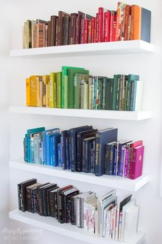 Organizing books this way would drive me crazy, especially if I had to break up series to do it... But it sure looks pretty.