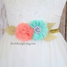 Coral and Mint Flower Gold Elastic Belt Bridal by lovelikestyle