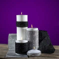 Eastland Rhinestone Diamond Wrap Black Roll | Candle Holders | Glass Votive Holders | Candles | Decor |