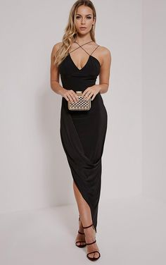 Velma Black Double Strap Ruched Midi Dress Image 1