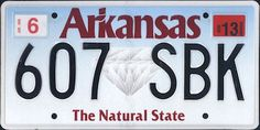 The official Arkansas state license plate.