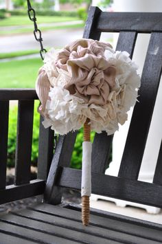 Champagne pink and ivory fabric bouquet...check it out in the Nannette Bridal etsy shop!