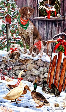 German Shorthair Pointer Christmas Goose by Margaret Sweeney. sweeneyholidaydogart.com