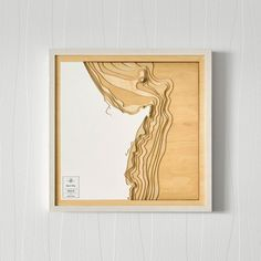 A wooden contour map of Byron Bay. The map depicts detailed bathymetric data (topography of the water). Made from 13 layers of plywood, each layer represents of water depth. Each map w. Wooden Map, Unique Maps, Contour Line, Art Carte, Laser Art, Map Design, Graphic Design, Byron Bay, Oeuvre D'art