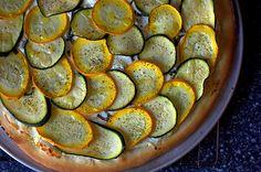Lemony Zucchini Goat Cheese Pizza ala SmittenKitchen