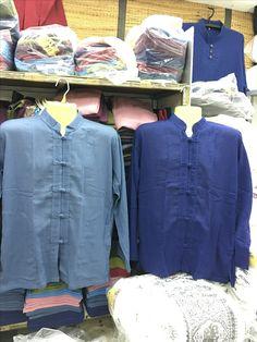 คอจีนแขนยาวหลากหลายสีที่ ร้านอิศราผ้าฝ้ายจตุจักร