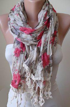 Summer Scarf - Beige and Pink Flowered Linen Fabric with Beige Trim Edge - Summer $19.90