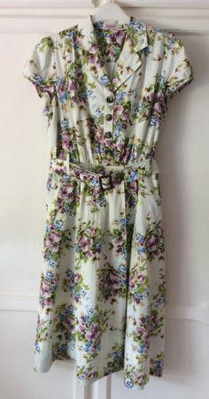 Cath Kidston Kidson Vintage Style 40s 50s Tea Dress Rare Purple Flowers UK 16