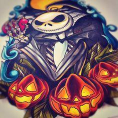 nightmRE BEFORE CHRISTMAS TATOO | In progress nightmare before christmas tattoo design! #tattoo # ...