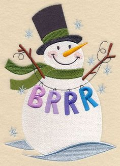 Free Embroidery Design: Brrr Snowman