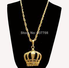 New 2014 Men Hip Hop Rap 18K Gold Long Crown Pendant Statement Necklace Body Chain Accessories Necklaces for Women Men Jewelry