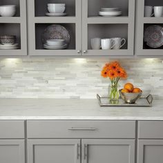 Daltile Stone Decor Glacier 12 in. x 14 in. x 10 mm Marble Linear Mosaic Floor and Wall Tile sq./ - The Home Depot Daltile Stone Decor Glacier 12 in. x 14 in. x 10 mm Marble Linear Mosaic - The Home Depot kitchen and master backsplash Cuisine Home Depot, Home Depot Kitchen, Diy Kitchen, Kitchen Decor, Kitchen Ideas, Awesome Kitchen, Kitchen Counters, Modern Kitchen Backsplash, Grey Kitchen Cabinets