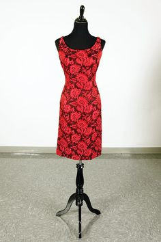 Vintage 60's Sandra Sage hot pink and black floral wiggle dress and jacket set - size M by piscesvintage, $65.00