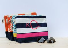 Great bridal party gifts - give a monogrammed zipper pouch.  Waterproof lining makes it perfect for the gal on the run.