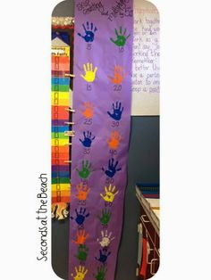 Skip counting and multiplication chart... Counting by 5s with student handprints