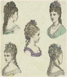 Victorian hair styles of the 1880s. Contemporary fashion plate.