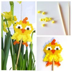 Easter chicken flower decoration hama beads by nydeligflottbloggen