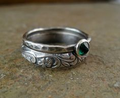 Hey, I found this really awesome Etsy listing at https://www.etsy.com/listing/115996688/emerald-wedding-rings-sterling-silver