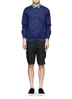 Colarinho atado - SACAI   Azul e Verde Casual Camisas   Moda Masculina   Pista Crawford - Loja Marcas Designer online