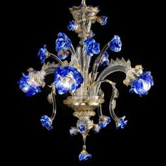 Gold & blue Murano glass flower chandelier in 9 sizes Flower Chandelier, Murano Chandelier, Chandelier Lighting, Painted Chandelier, Blue Chandelier, Antique Chandelier, Hanging Lights, Colored Glass, Lamp Light