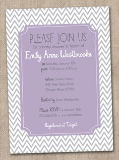 Purple and Gray Chevron Stripes Baby Shower Invitation