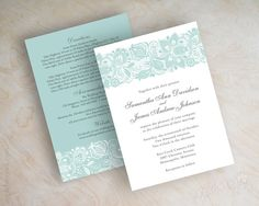 Victorian style lace artwork wedding invitations in mint green and charcoal gray by appleberryink