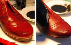 How to dye shoes at home with textile paint – DIY Tutorial Tap Shoes, Dance Shoes, How To Dye Shoes, Buy 1, Brogues, Diy Painting, Diy Tutorial, Fun Stuff, Shoe Boots